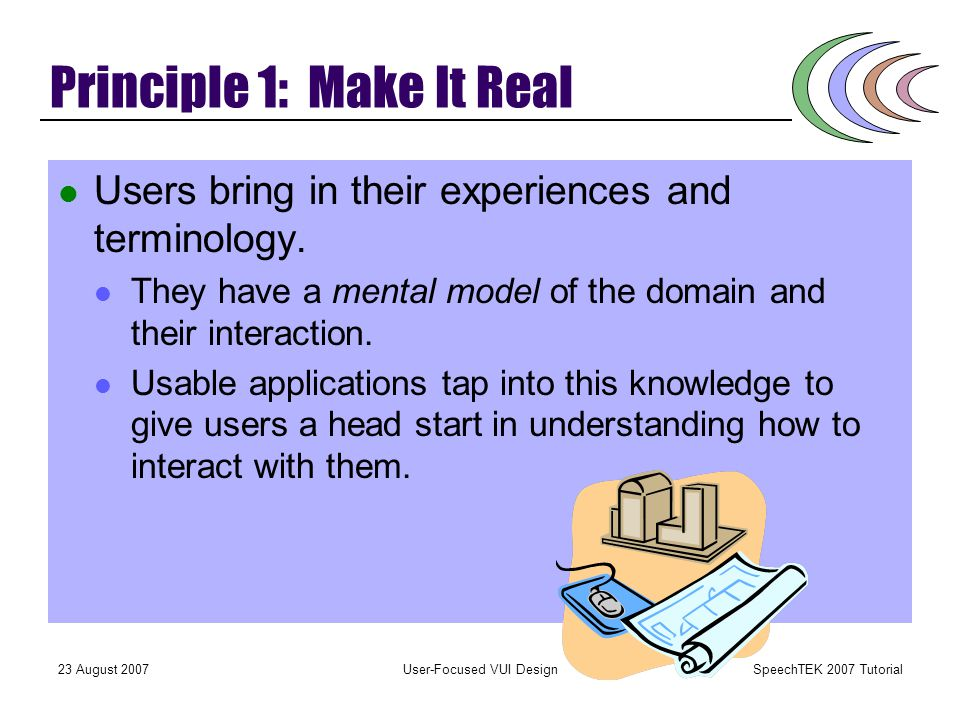 SpeechTEK 2007 Tutorial 23 August 2007User-Focused VUI Design Rules of Thumb 1. Make It Real: Be sure there is a match between the application and the