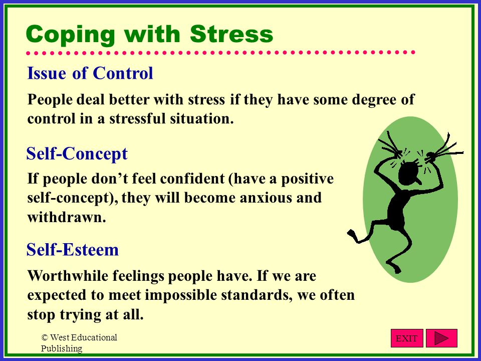 © West Educational Publishing Coping with Stress Issue of Control People deal better with stress if they have some degree of control in a stressful situation.