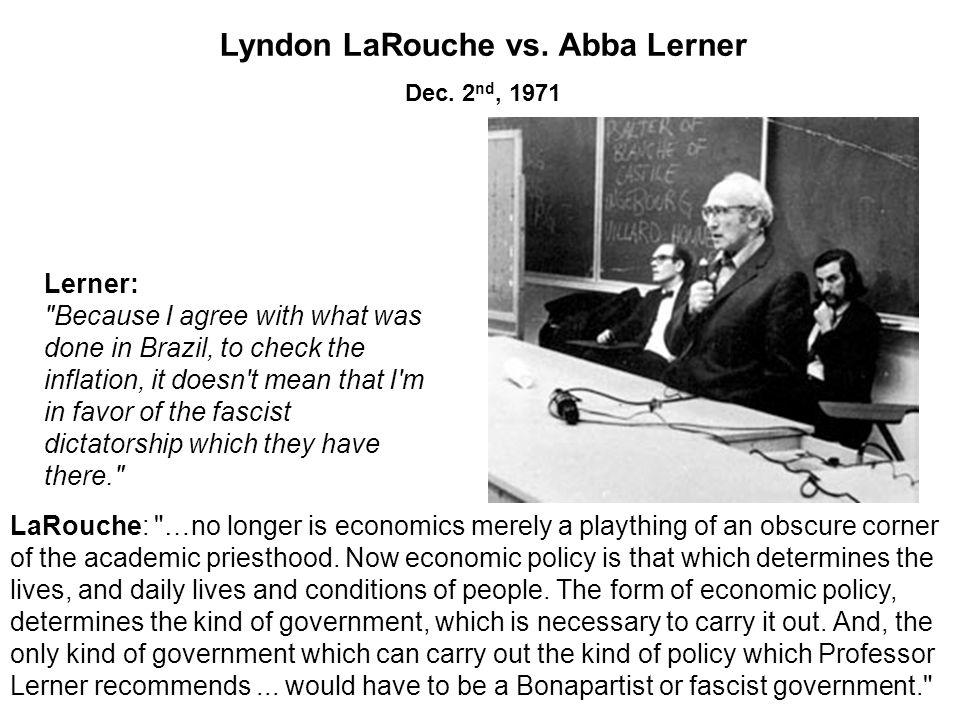 Lyndon LaRouche vs. Abba Lerner Dec.