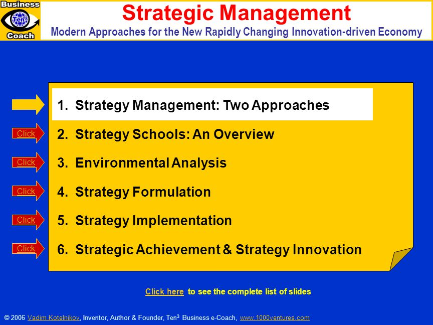 1.Strategy Management: Two Approaches 2.Strategy Schools: An Overview 3.Environmental Analysis 4.Strategy Formulation 5.Strategy Implementation 6.Stra