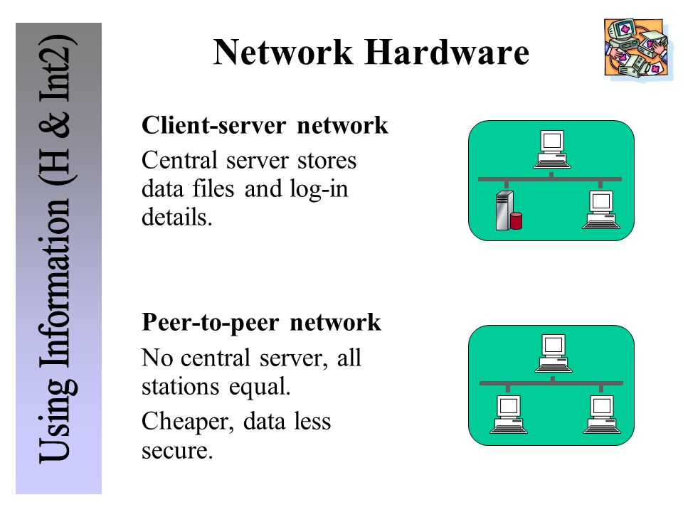 Network Hardware Client-server network Central server stores data files and log-in details. Peer-to-peer network No central server, all stations equal