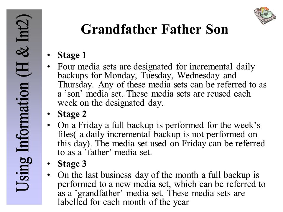 Grandfather Father Son Stage 1 Four media sets are designated for incremental daily backups for Monday, Tuesday, Wednesday and Thursday.