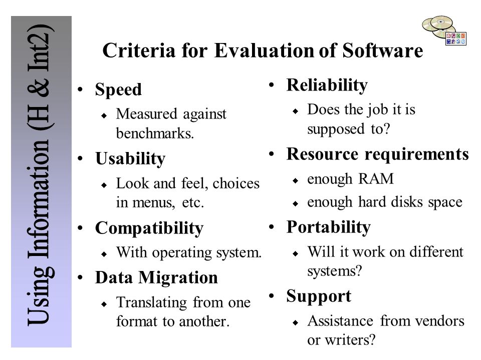 Criteria for Evaluation of Software Speed  Measured against benchmarks.