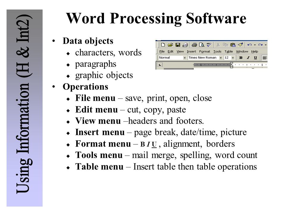 Word Processing Software Data objects  characters, words  paragraphs  graphic objects Operations  File menu – save, print, open, close  Edit menu – cut, copy, paste  View menu –headers and footers.