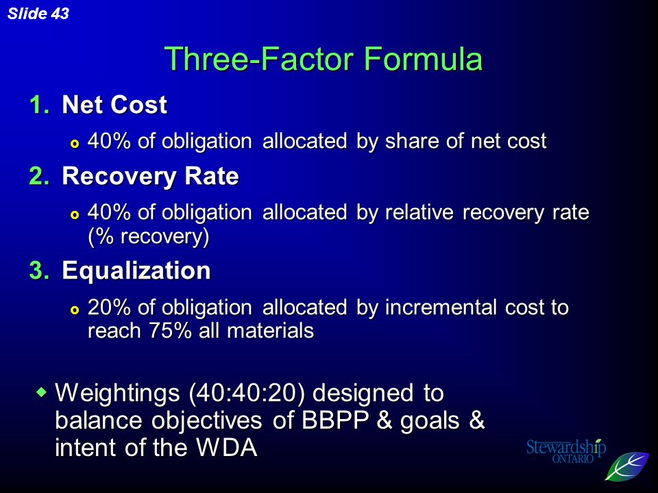Slide 43 1.Net Cost  40% of obligation allocated by share of net cost 2.Recovery Rate  40% of obligation allocated by relative recovery rate (% recovery) 3.Equalization  20% of obligation allocated by incremental cost to reach 75% all materials Three-Factor Formula  Weightings (40:40:20) designed to balance objectives of BBPP & goals & intent of the WDA