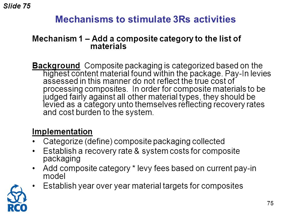 Slide 75 75 Mechanisms to stimulate 3Rs activities Mechanism 1 – Add a composite category to the list of materials Background Composite packaging is categorized based on the highest content material found within the package.