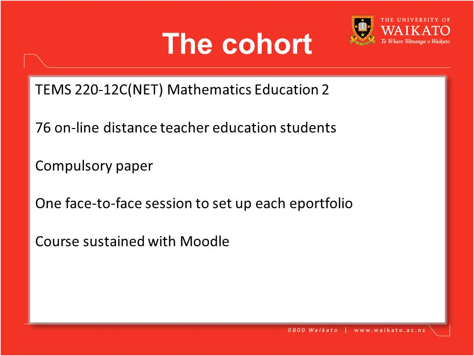 The cohort TEMS 220-12C(NET) Mathematics Education 2 76 on-line distance teacher education students Compulsory paper One face-to-face session to set up each eportfolio Course sustained with Moodle TEMS 220-12C(NET) Mathematics Education 2 76 on-line distance teacher education students Compulsory paper One face-to-face session to set up each eportfolio Course sustained with Moodle