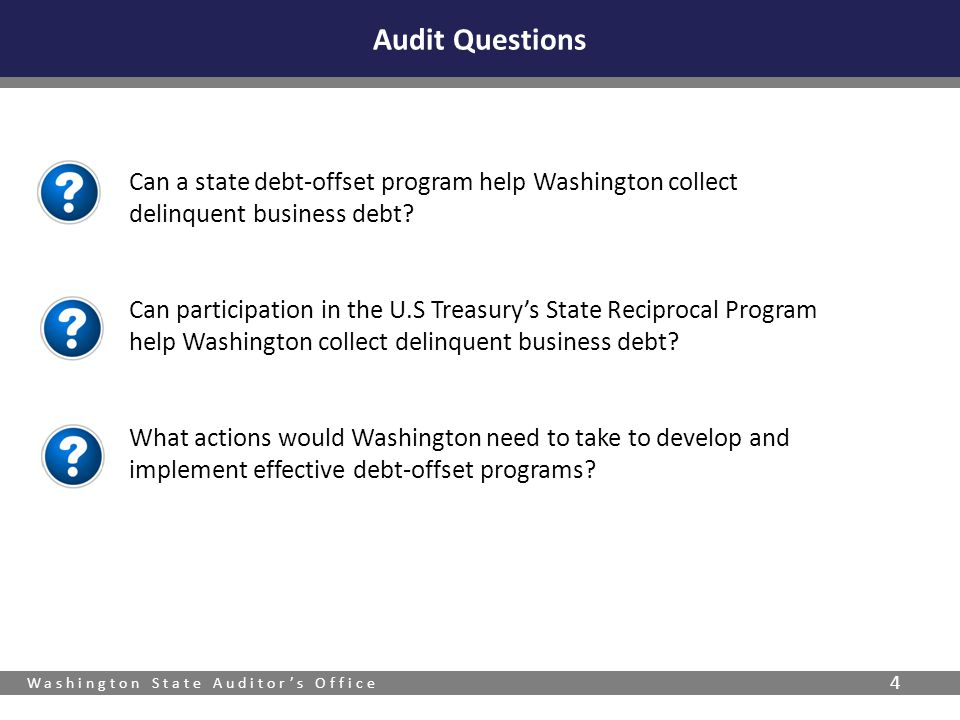Washington State Auditor's Office 4 Can a state debt-offset program help Washington collect delinquent business debt.