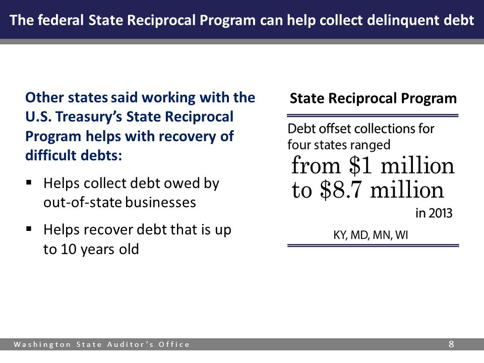 Washington State Auditor's Office 8 The federal State Reciprocal Program can help collect delinquent debt Other states said working with the U.S.