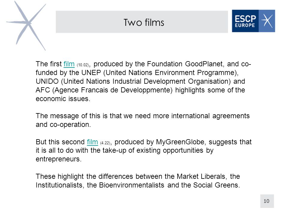 10 Two films The first film (10.02), produced by the Foundation GoodPlanet, and co- funded by the UNEP (United Nations Environment Programme), UNIDO (United Nations Industrial Development Organisation) and AFC (Agence Francais de Developpmente) highlights some of the economic issues.film The message of this is that we need more international agreements and co-operation.