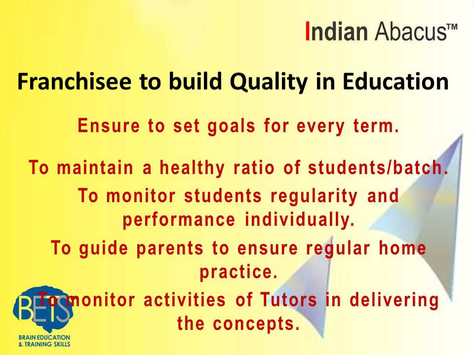 Ensure to set goals for every term. To maintain a healthy ratio of students/batch.