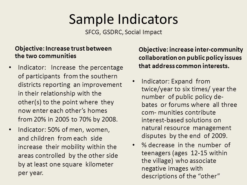 Sample Indicators SFCG, GSDRC, Social Impact Objective: Increase trust between the two communities Indicator: Increase the percentage of participants
