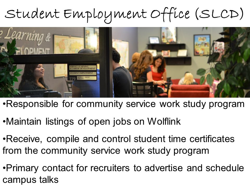 Student Employment Office (SLCD) Responsible for community service work study program Maintain listings of open jobs on Wolflink Receive, compile and