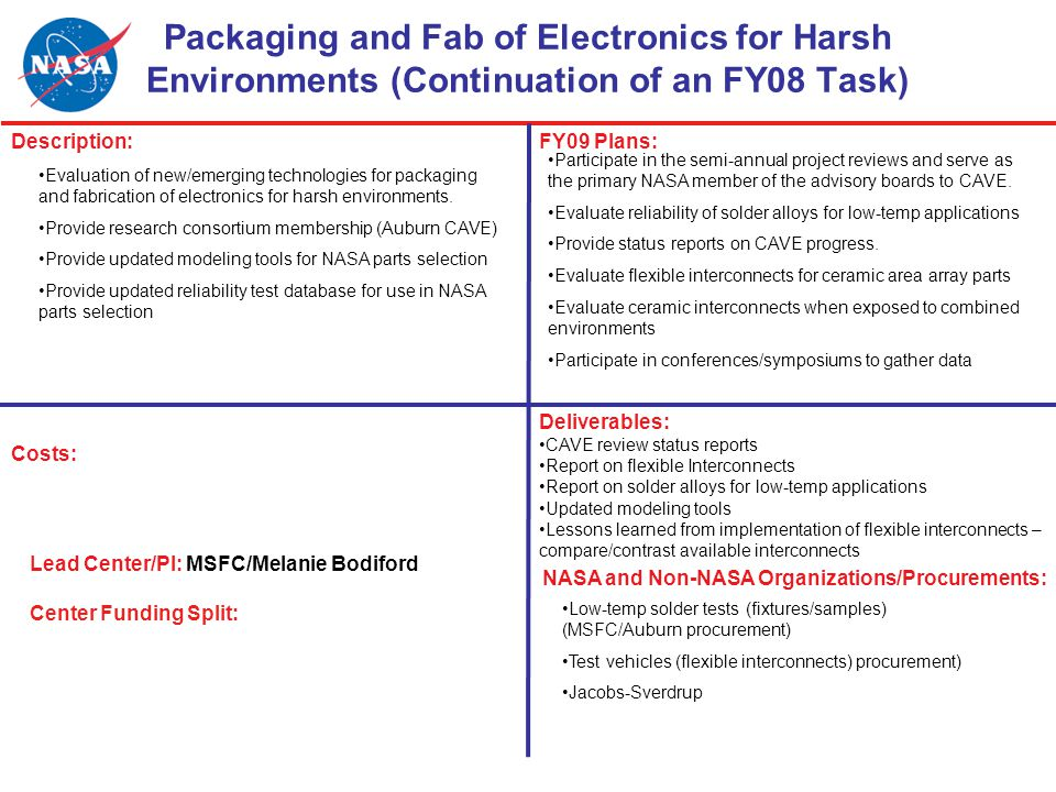 Packaging and Fab of Electronics for Harsh Environments (Continuation of an FY08 Task) Description:FY09 Plans: Costs: Lead Center/PI: MSFC/Melanie Bodiford Center Funding Split: NASA and Non-NASA Organizations/Procurements: Deliverables: CAVE review status reports Report on flexible Interconnects Report on solder alloys for low-temp applications Updated modeling tools Lessons learned from implementation of flexible interconnects – compare/contrast available interconnects Participate in the semi-annual project reviews and serve as the primary NASA member of the advisory boards to CAVE.