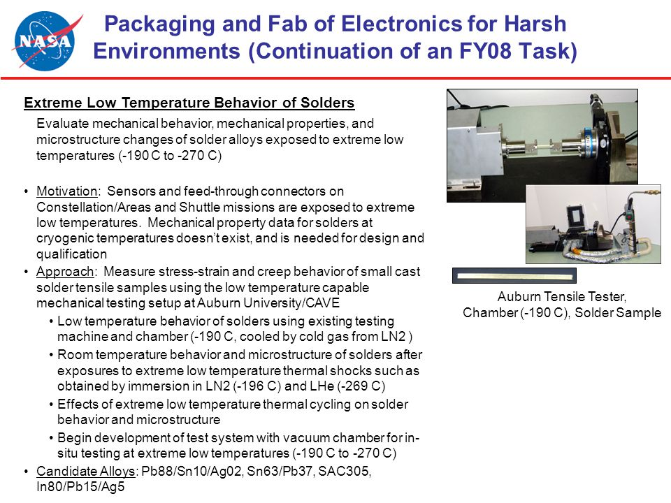 Packaging and Fab of Electronics for Harsh Environments (Continuation of an FY08 Task) Extreme Low Temperature Behavior of Solders Evaluate mechanical behavior, mechanical properties, and microstructure changes of solder alloys exposed to extreme low temperatures (-190 C to -270 C) Motivation: Sensors and feed-through connectors on Constellation/Areas and Shuttle missions are exposed to extreme low temperatures.