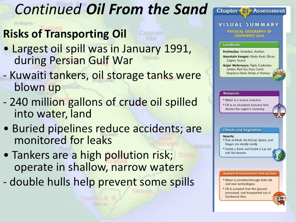 Continued Oil From the Sand Risks of Transporting Oil Largest oil spill was in January 1991, during Persian Gulf War - Kuwaiti tankers, oil storage ta