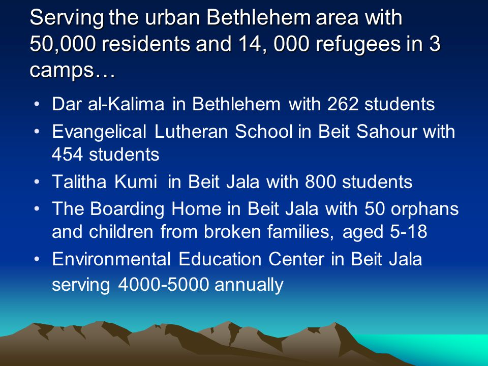 Serving the urban Bethlehem area with 50,000 residents and 14, 000 refugees in 3 camps… Dar al-Kalima in Bethlehem with 262 students Evangelical Luthe