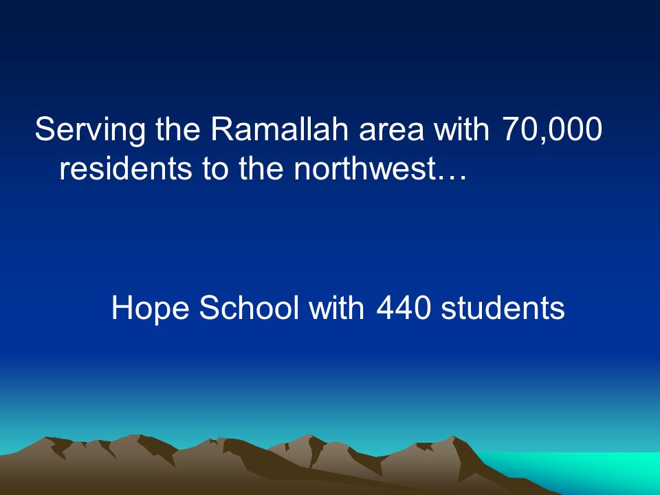 Serving the Ramallah area with 70,000 residents to the northwest… Hope School with 440 students