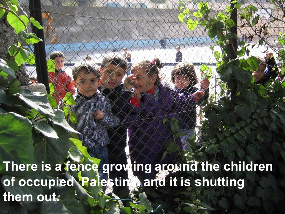 There is a fence growing around the children of occupied Palestine, and it is shutting them out.