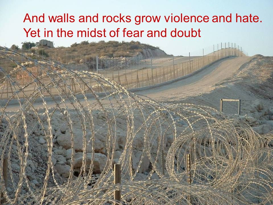 And walls and rocks grow violence and hate. Yet in the midst of fear and doubt