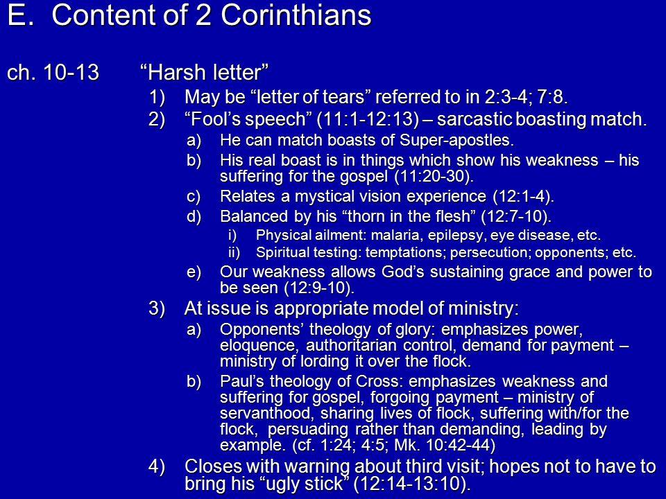 E.Content of 2 Corinthians ch.