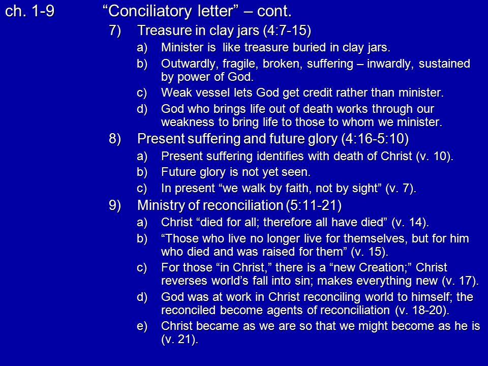 ch. 1-9 Conciliatory letter – cont.