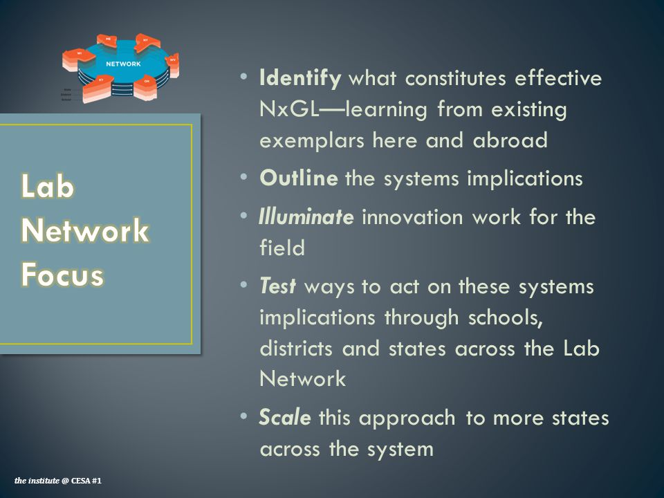 Identify what constitutes effective NxGL—learning from existing exemplars here and abroad Outline the systems implications Illuminate innovation work for the field Test ways to act on these systems implications through schools, districts and states across the Lab Network Scale this approach to more states across the system the institute @ CESA #1