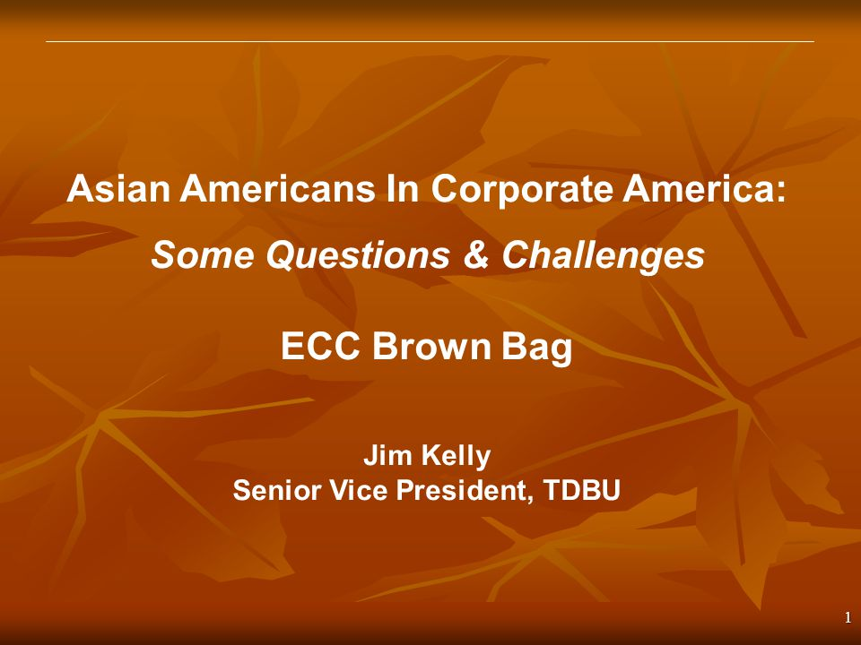 1 Asian Americans In Corporate America: Some Questions & Challenges ECC Brown Bag Jim Kelly Senior Vice President, TDBU