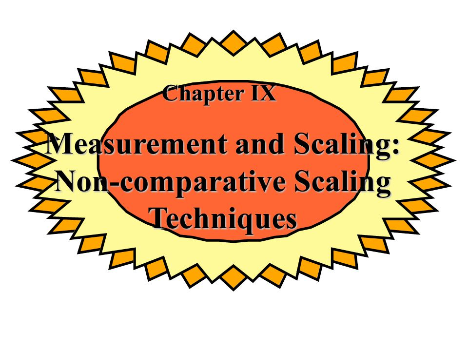 Chapter IX Measurement and Scaling: Non-comparative Scaling Techniques