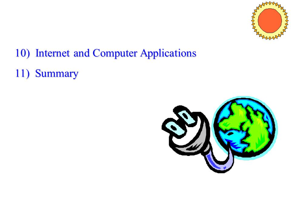 10) Internet and Computer Applications 11) Summary