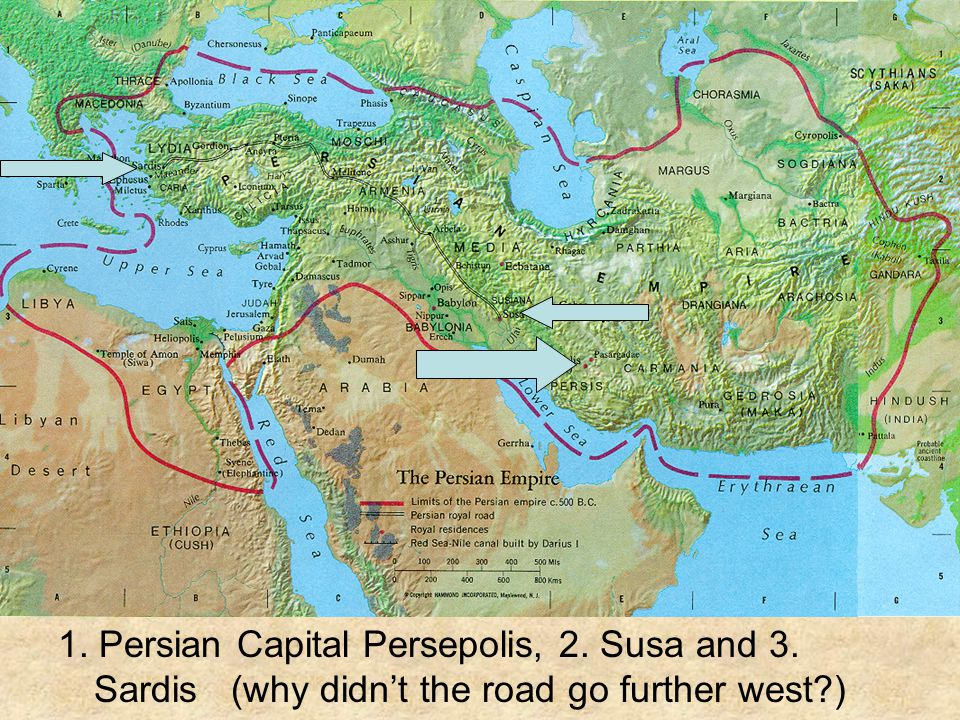 1. Persian Capital Persepolis, 2. Susa and 3. Sardis (why didn't the road go further west?)