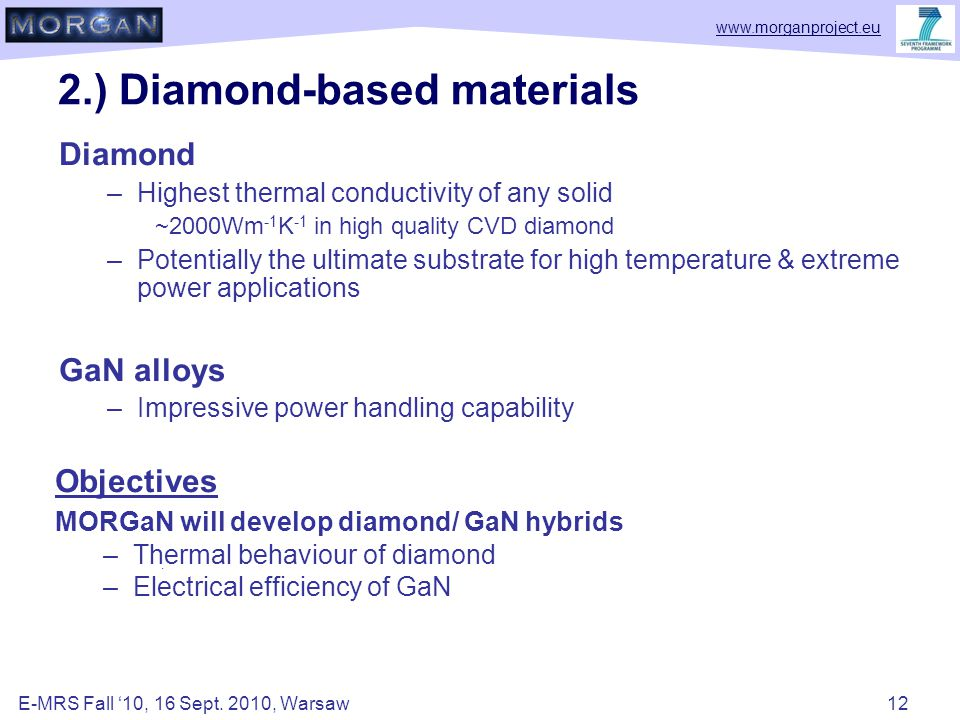 www.morganproject.eu 2.) Diamond-based materials Diamond –Highest thermal conductivity of any solid ~2000Wm -1 K -1 in high quality CVD diamond –Potentially the ultimate substrate for high temperature & extreme power applications GaN alloys –Impressive power handling capability.