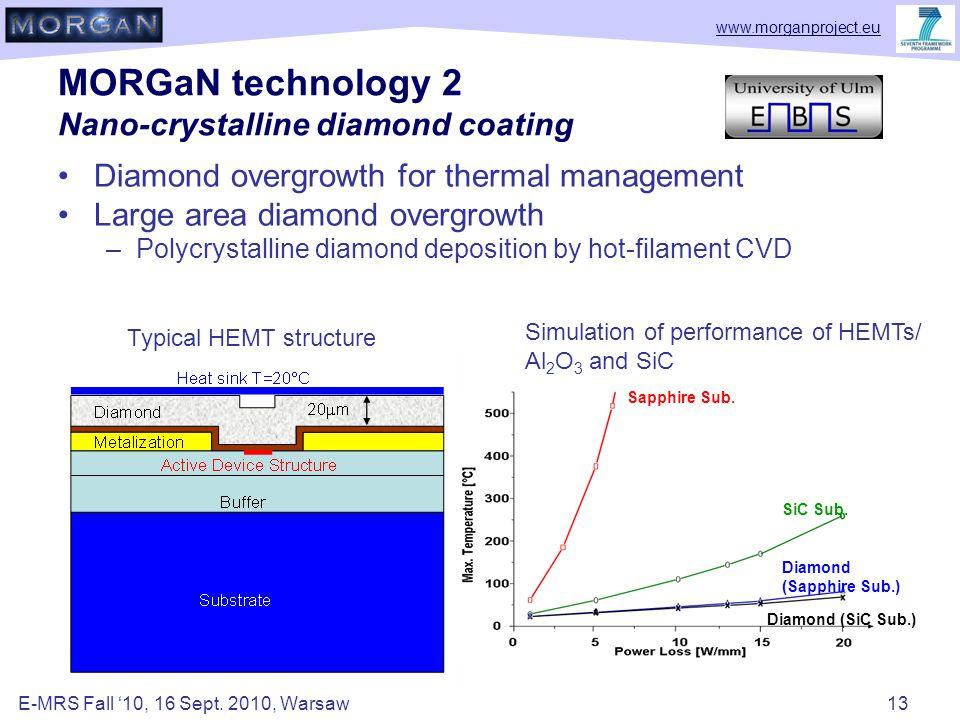 www.morganproject.eu MORGaN technology 2 Nano-crystalline diamond coating Diamond overgrowth for thermal management Large area diamond overgrowth –Polycrystalline diamond deposition by hot-filament CVD Sapphire Sub.