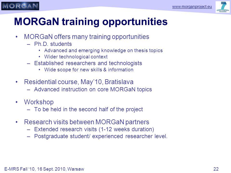 www.morganproject.eu MORGaN training opportunities MORGaN offers many training opportunities –Ph.D.