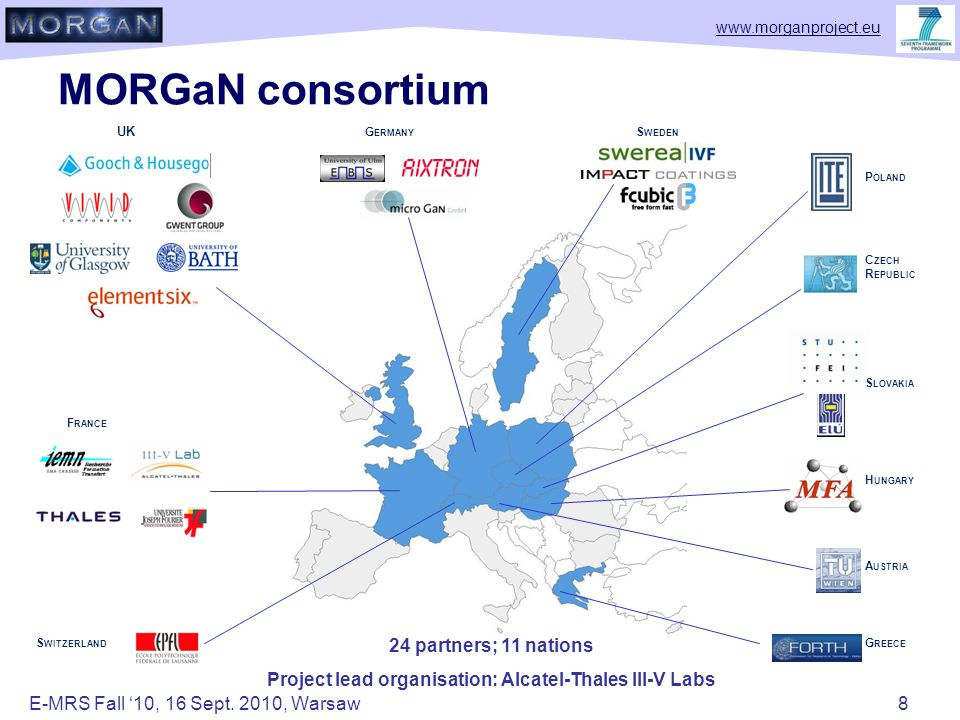 www.morganproject.eu MORGaN consortium UK S WEDEN F RANCE S WITZERLAND G REECE G ERMANY H UNGARY S LOVAKIA A USTRIA C ZECH R EPUBLIC P OLAND 24 partners; 11 nations Project lead organisation: Alcatel-Thales III-V Labs E-MRS Fall '10, 16 Sept.