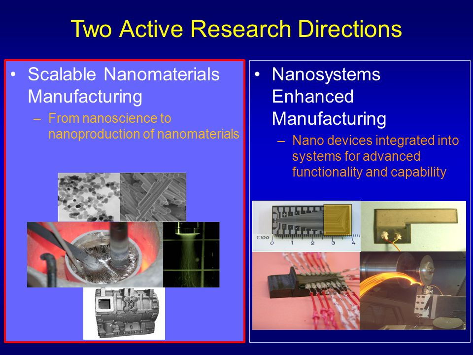 Nanosystems Enhanced Manufacturing –Nano devices integrated into systems for advanced functionality and capability Scalable Nanomaterials Manufacturin