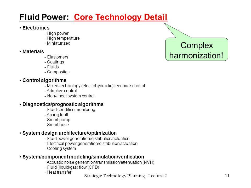 Fluid Power: Core Technology Detail Electronics - High power - High temperature - Miniaturized Materials - Elastomers - Coatings - Fluids - Composites