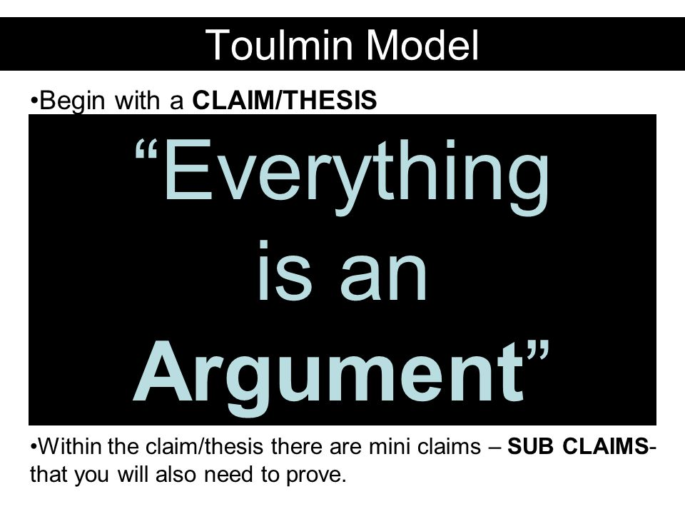 Toulmin Model Begin with a CLAIM/THESIS What are you trying to say .
