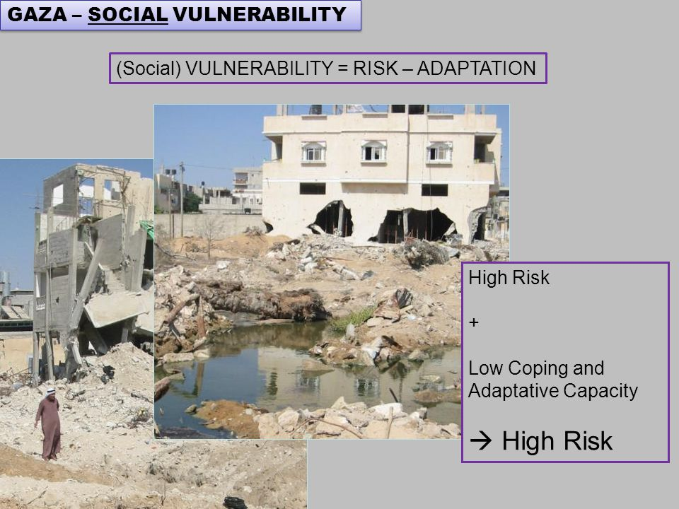 High Risk + Low Coping and Adaptative Capacity  High Risk (Social) VULNERABILITY = RISK – ADAPTATION GAZA – SOCIAL VULNERABILITY