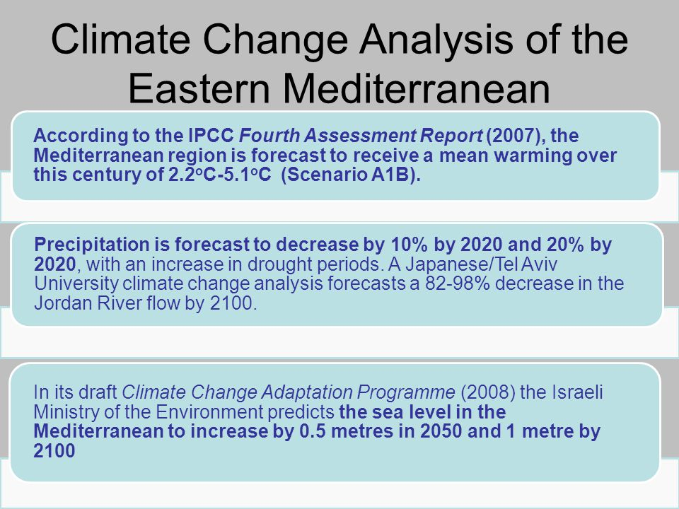 According to the IPCC Fourth Assessment Report (2007), the Mediterranean region is forecast to receive a mean warming over this century of 2.2 o C-5.1 o C (Scenario A1B).
