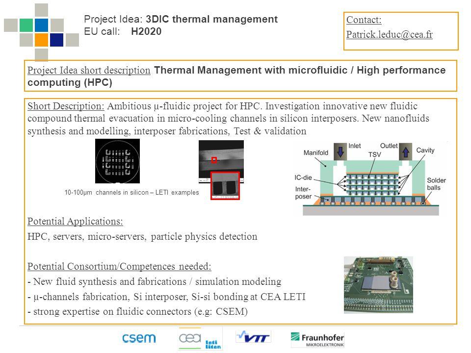 The Heterogeneous Technology Alliance HTA Short Description: Ambitious µ-fluidic project for HPC.