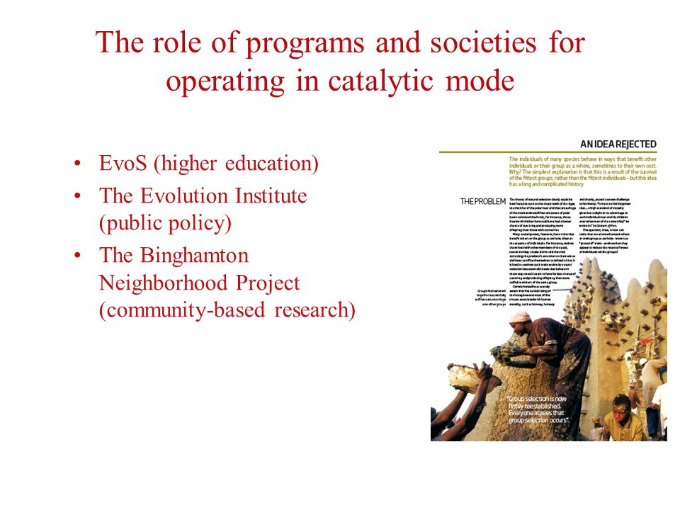 The role of programs and societies for operating in catalytic mode EvoS (higher education) The Evolution Institute (public policy) The Binghamton Neighborhood Project (community-based research)