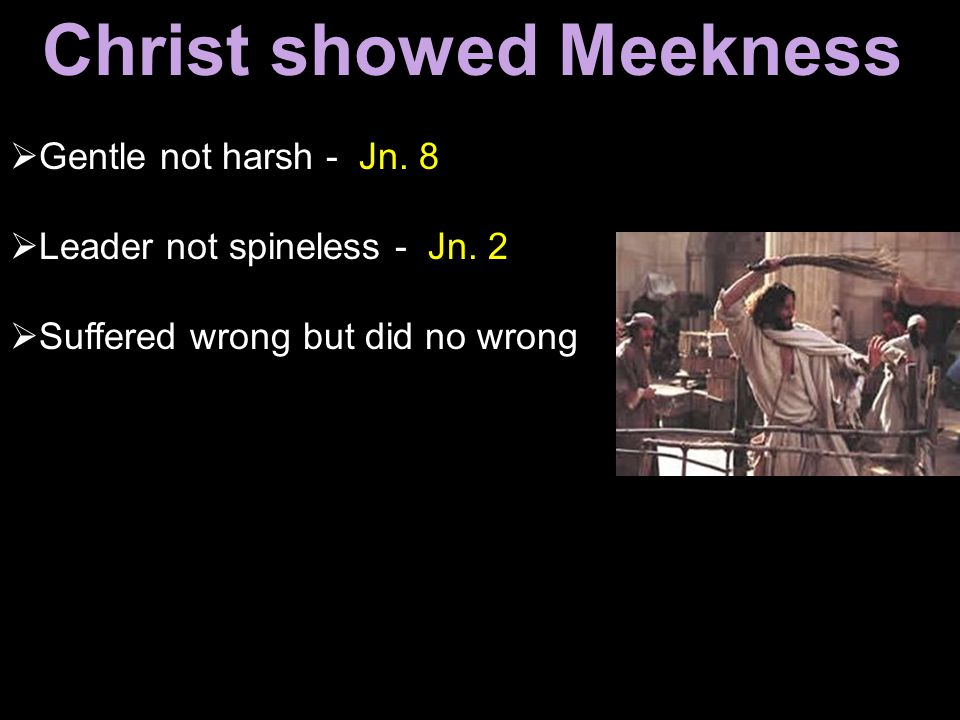 Gentle not harsh - Jn. 8  Leader not spineless - Jn. 2  Suffered wrong but did no wrong Christ showed Meekness