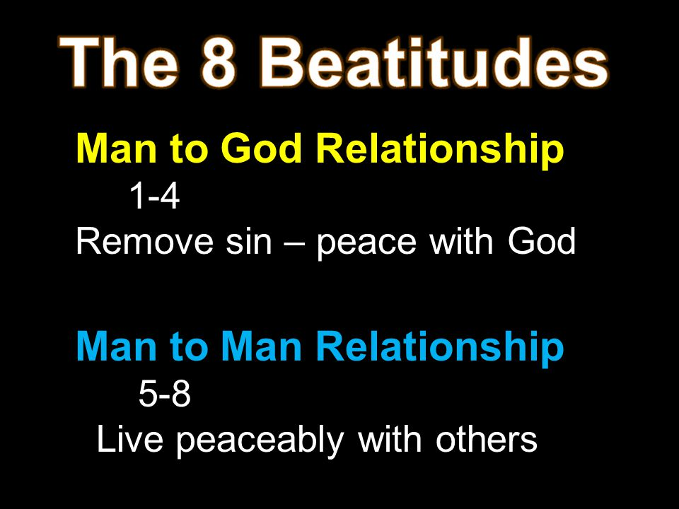 Man to God Relationship 1-4 Remove sin – peace with God Man to Man Relationship 5-8 Live peaceably with others