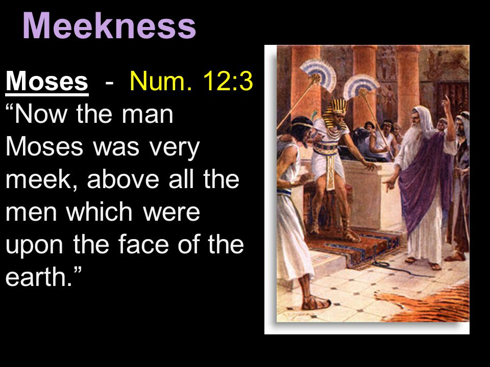 "Moses - Num. 12:3 ""Now the man Moses was very meek, above all the men which were upon the face of the earth."" Meekness"