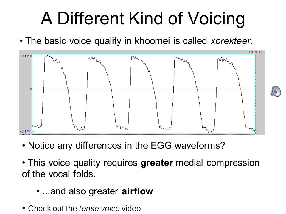 A Different Kind of Voicing The basic voice quality in khoomei is called xorekteer.