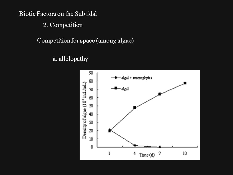 Biotic Factors on the Subtidal 2. Competition Competition for space (among algae) a. allelopathy
