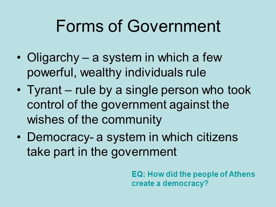 Democracy a type of government in which people rule themselves.