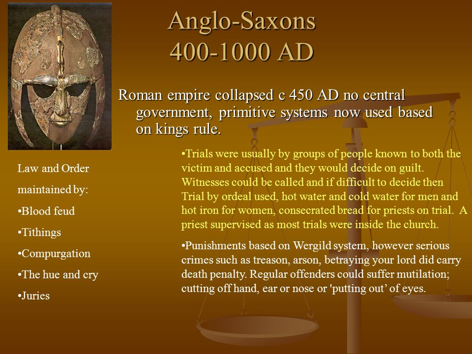Anglo-Saxons 400-1000 AD Roman empire collapsed c 450 AD no central government, primitive systems now used based on kings rule. Law and Order maintain