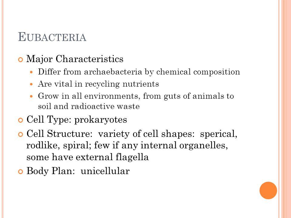 E UBACTERIA Metabolism: autotroph or heterotroph Reproduction: asexual (binary fission) 4 major Phyla: Proteobacteria: includes E.